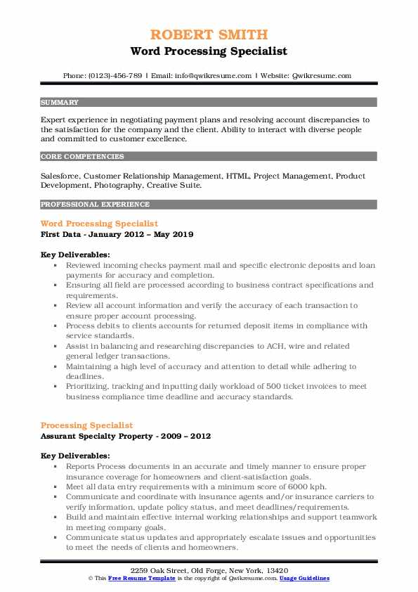 Word Processing Specialist Resume Example