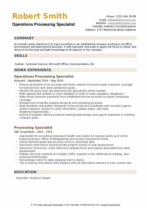 Operations Processing Specialist Resume Format