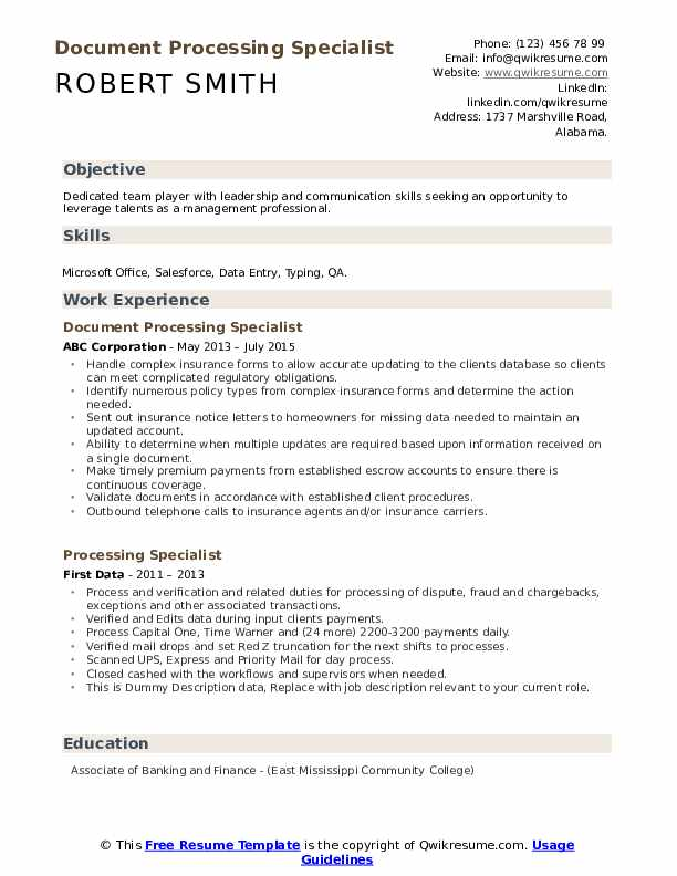 Document Processing Specialist Resume Template