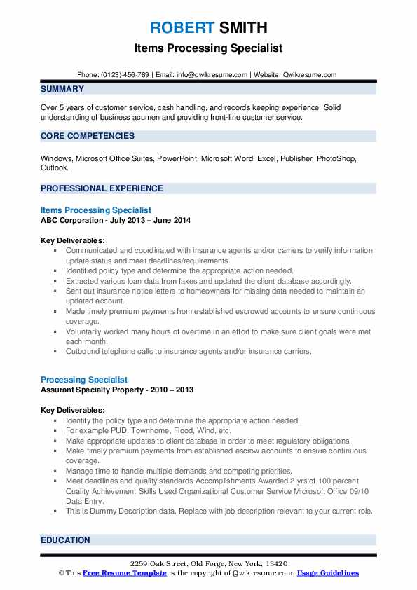 Items Processing Specialist Resume Example