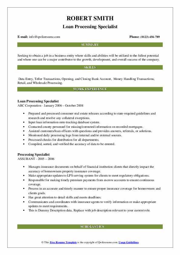 Loan Processing Specialist Resume Sample