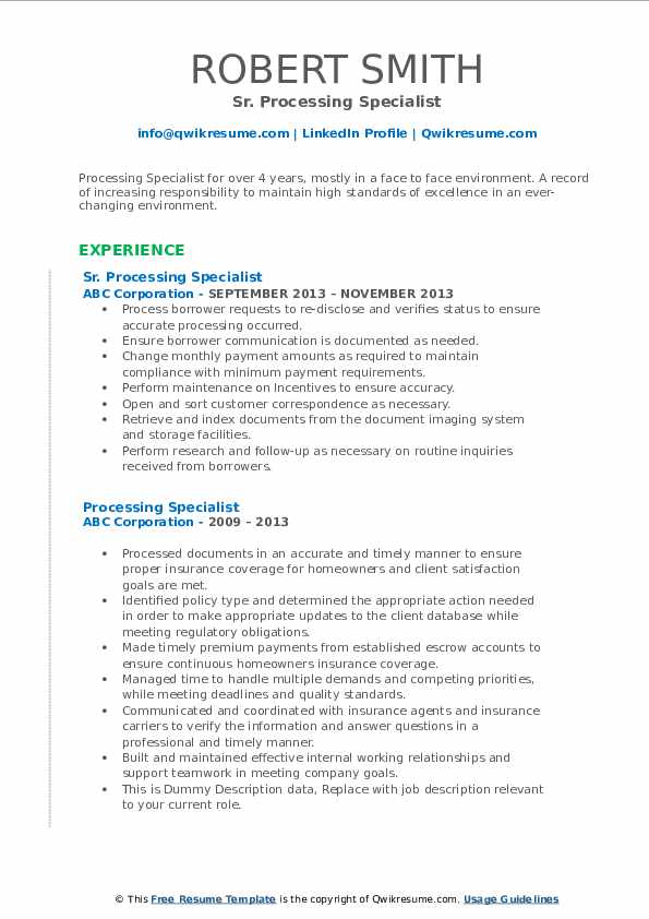Sr. Processing Specialist Resume Template
