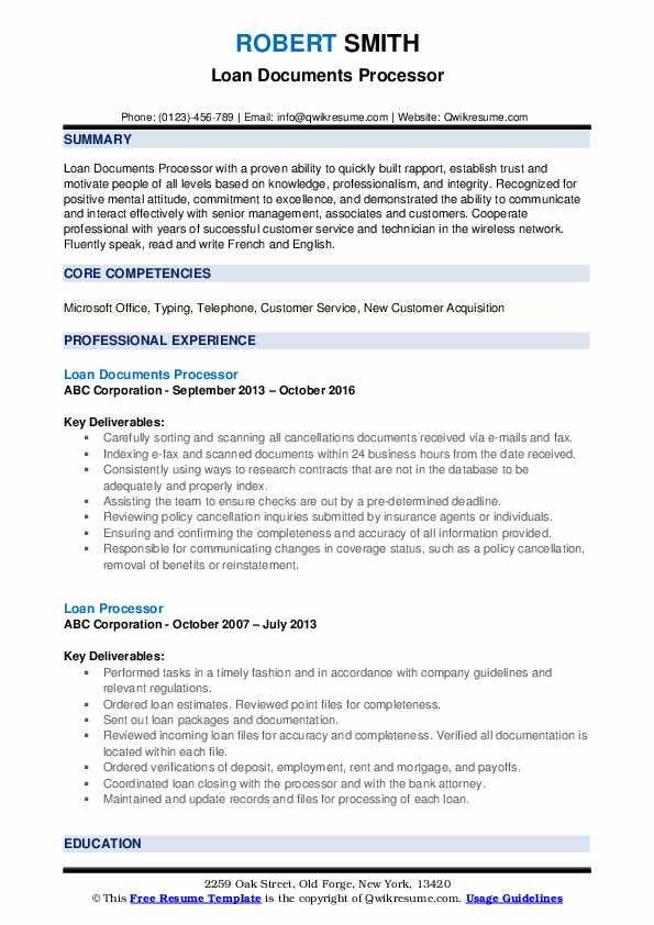 Loan Documents Processor Resume Model