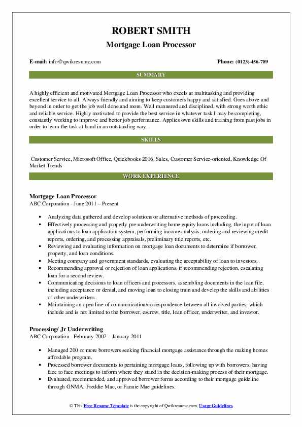 Mortgage Loan Processor Resume Template