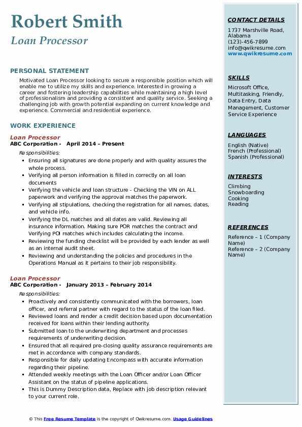Loan Processor Resume Model