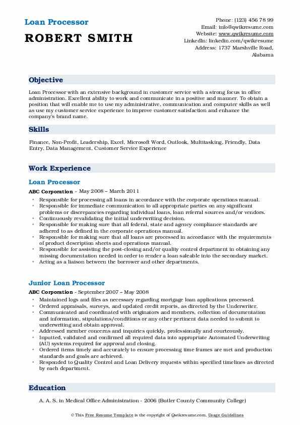Loan Processor Resume Format