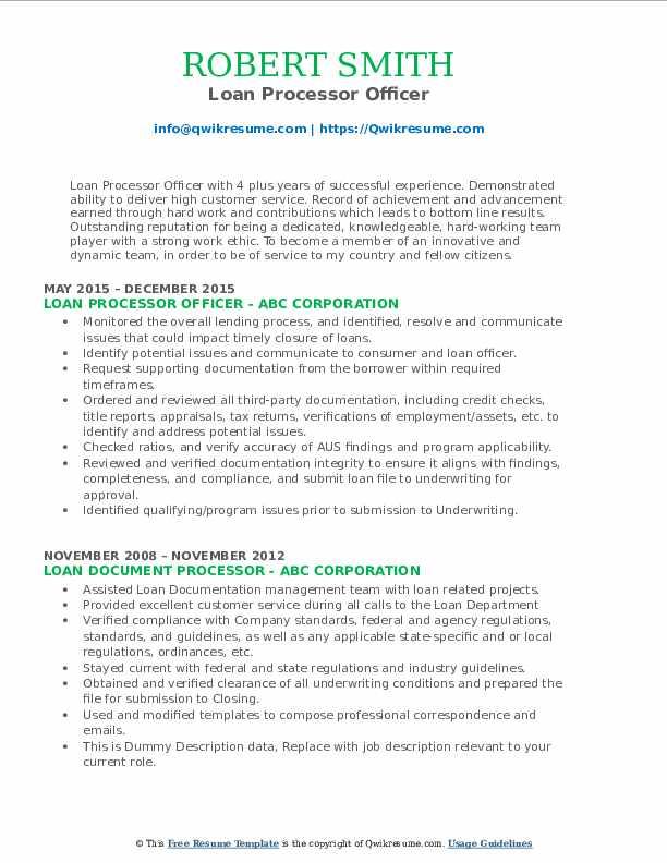 Loan Processor Officer Resume Model
