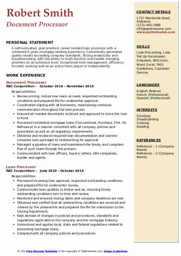 Document Processor Resume Model
