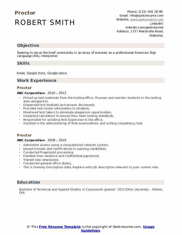 Proctor Resume example