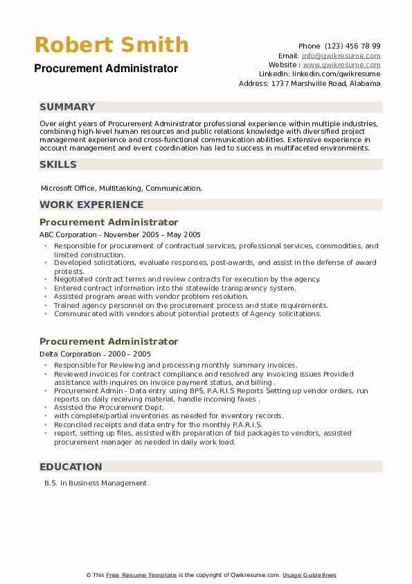 Procurement Administrator Resume example