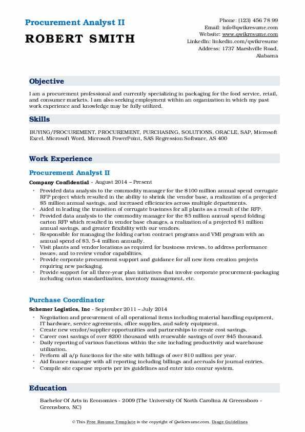 Procurement Analyst II Resume Template