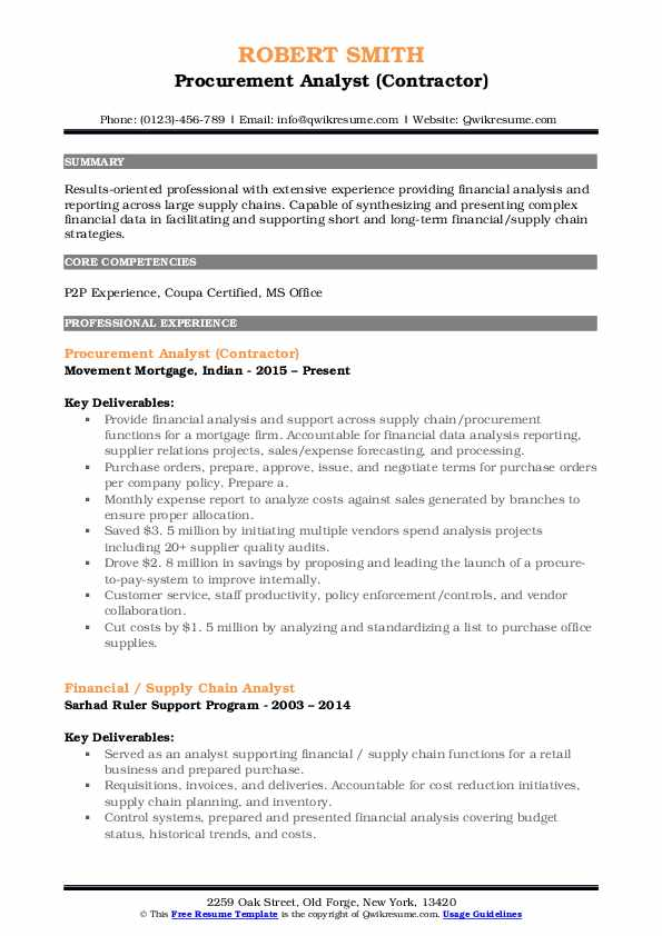 Procurement Analyst Resume Samples Qwikresume