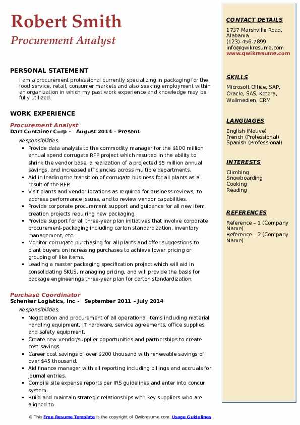 procurement analyst resume samples