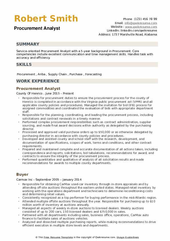 Procurement Analyst Resume Example
