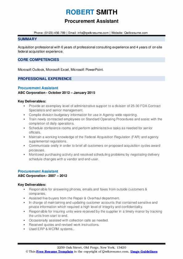 Procurement Assistant Resume example