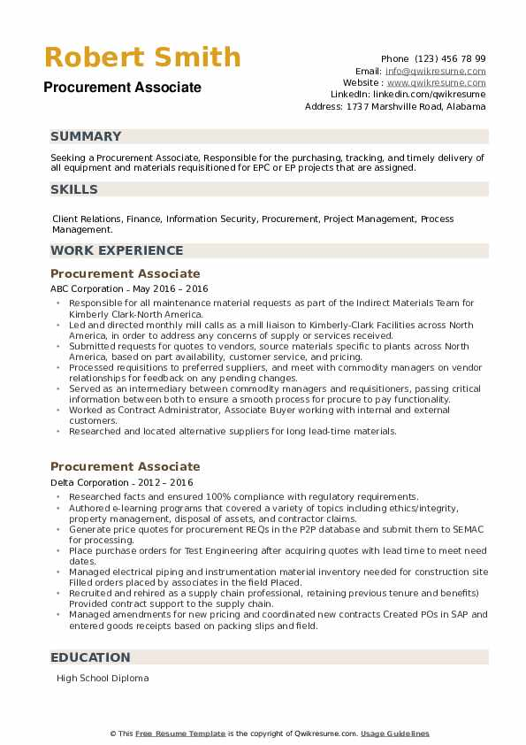 Procurement Associate Resume example