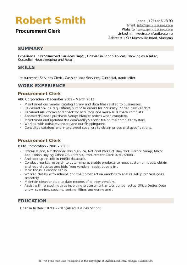 Procurement Clerk Resume example