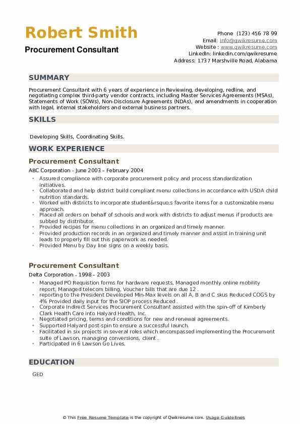 Procurement Consultant Resume example