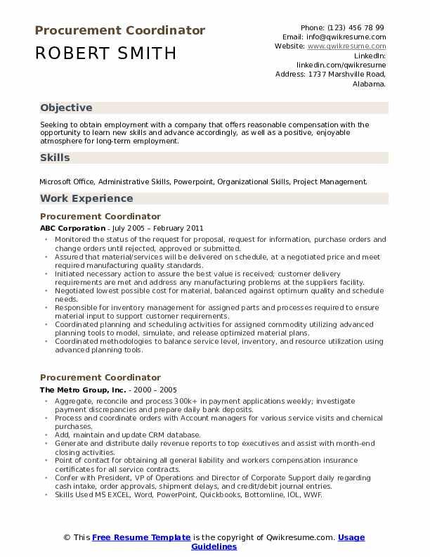 Procurement Coordinator Resume Format