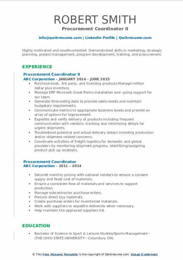Procurement Coordinator II Resume Example