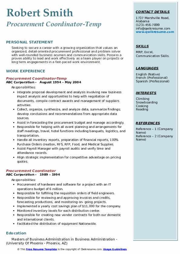 Procurement Coordinator-Temp Resume Sample