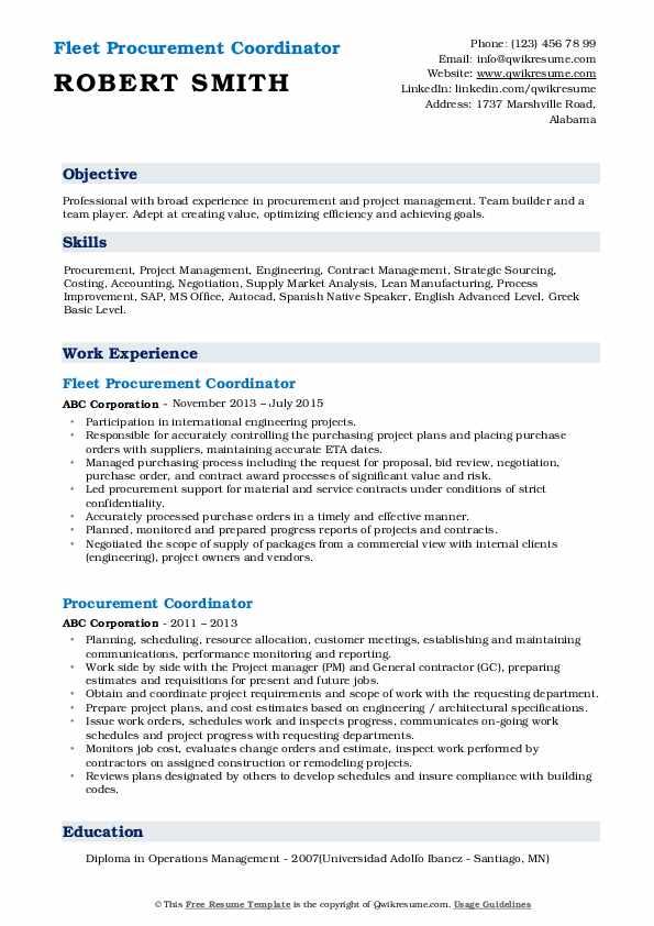 Fleet Procurement Coordinator Resume Model