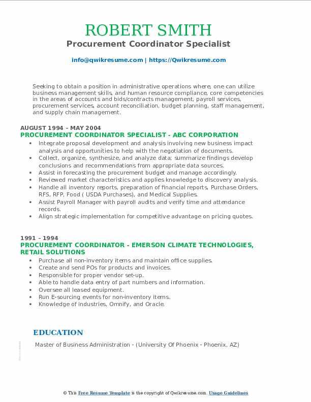 Procurement Coordinator Specialist Resume Template