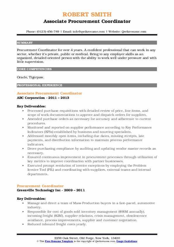 Associate Procurement Coordinator Resume Example