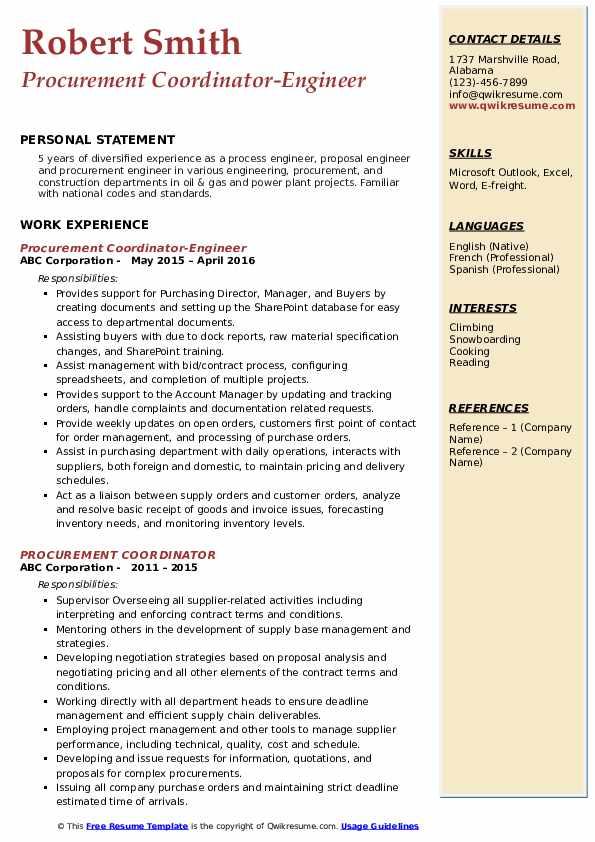 Procurement Coordinator-Engineer Resume Sample