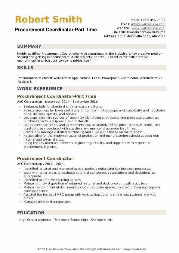 Procurement Coordinator-Part Time Resume Template