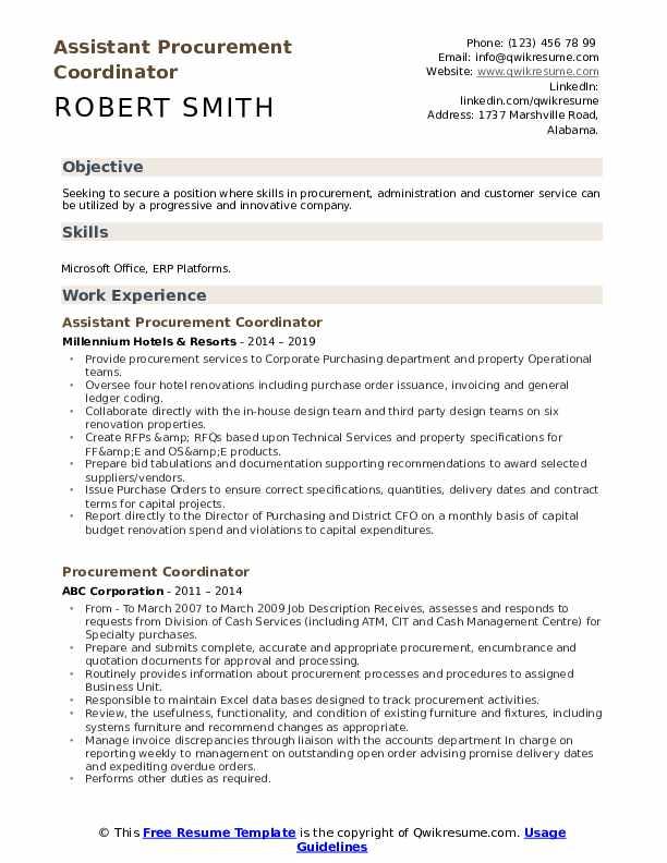procurement coordinator resume samples