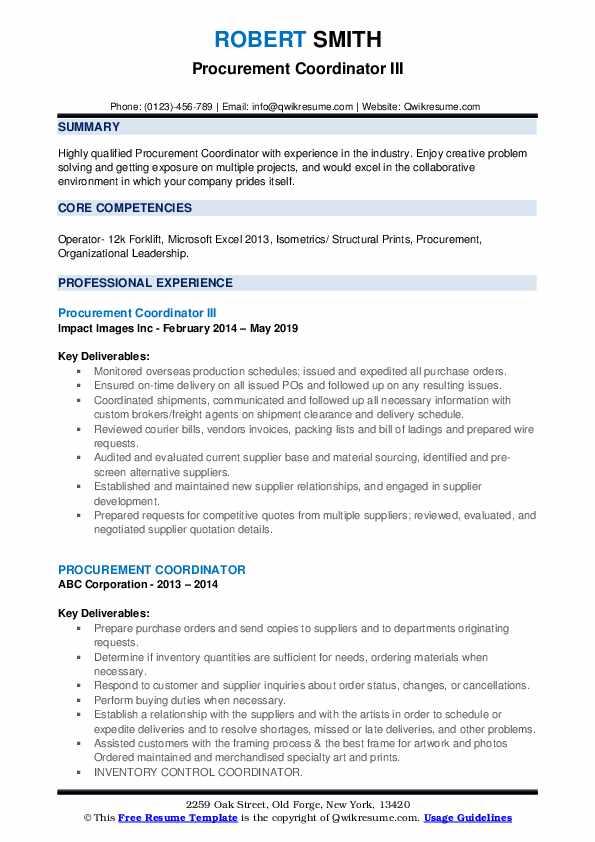 Procurement Coordinator III Resume Format