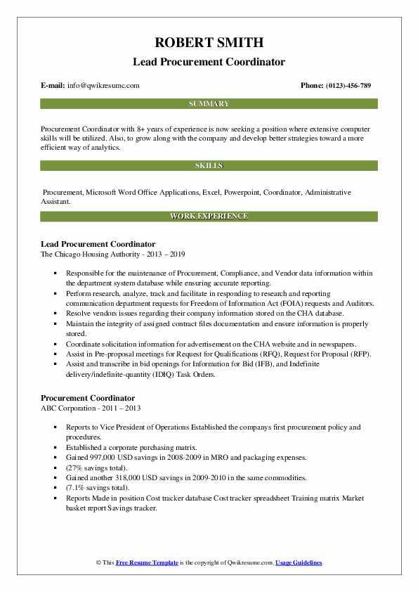 Lead Procurement Coordinator Resume Format