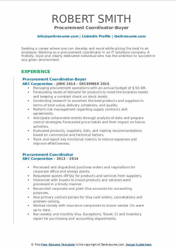 Procurement Coordinator-Buyer Resume Example