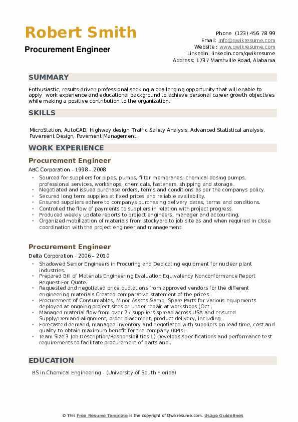 Procurement Engineer Resume example