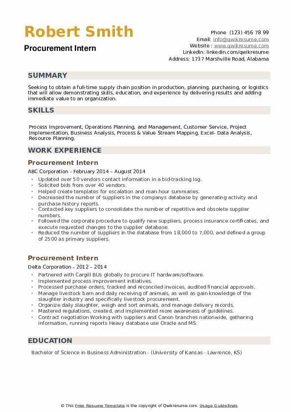 Procurement Intern Resume example