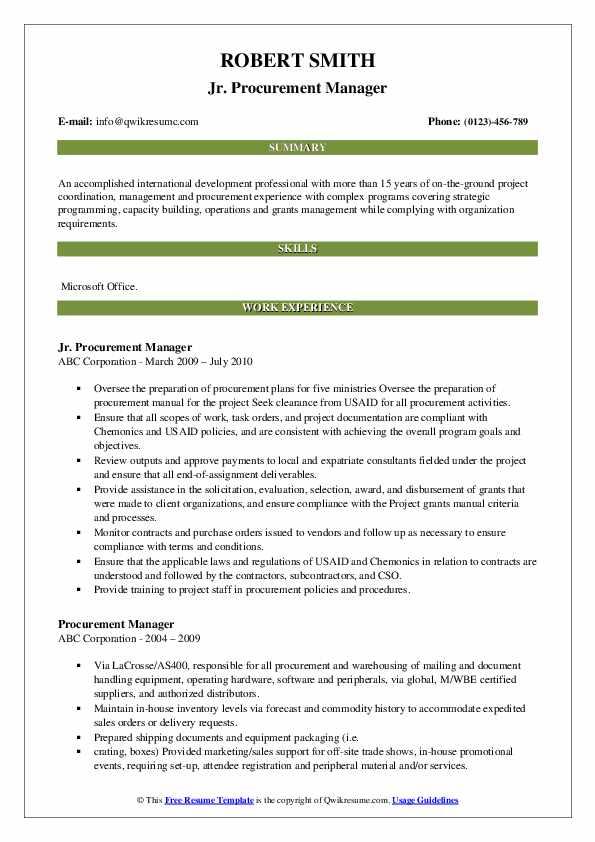 Jr. Procurement Manager Resume Example