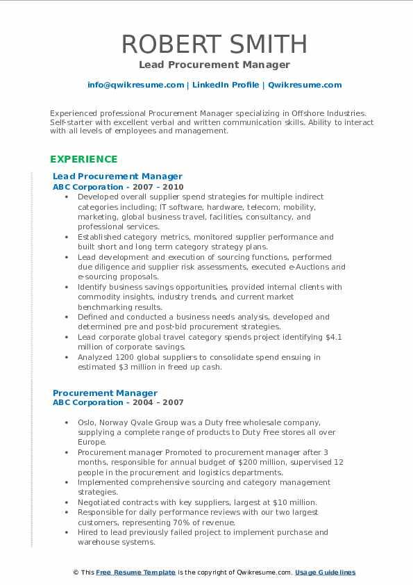 Lead Procurement Manager Resume Sample