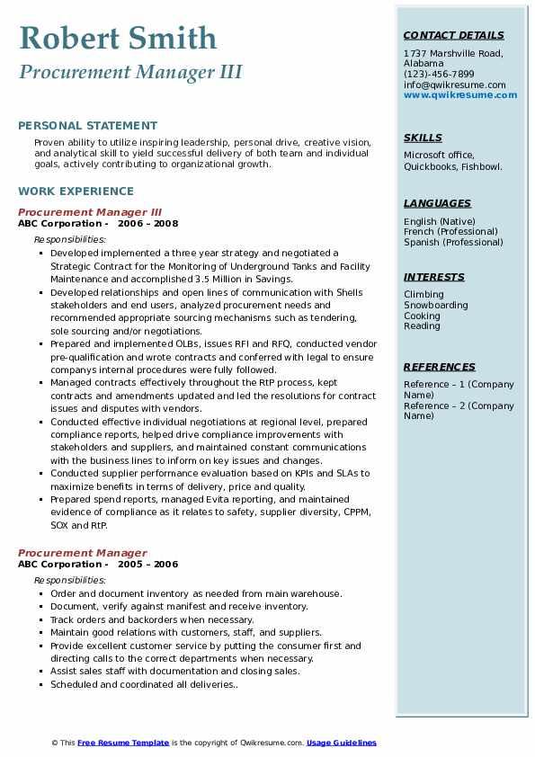 Procurement Manager III Resume Sample