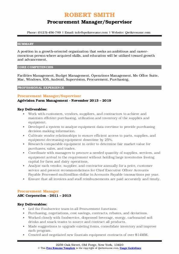 Procurement Manager/Supervisor Resume Format