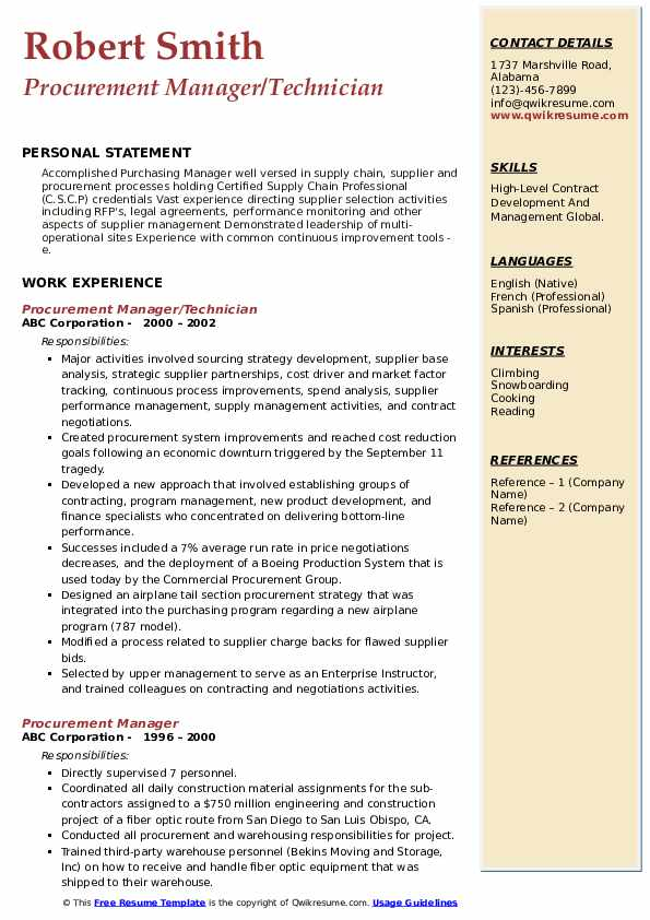 Procurement Manager/Technician Resume Sample
