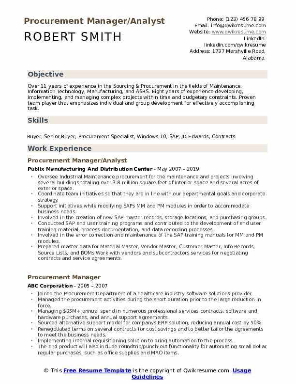 Procurement Manager/Analyst Resume Sample