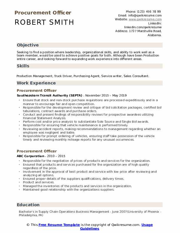 procurement officer resume samples