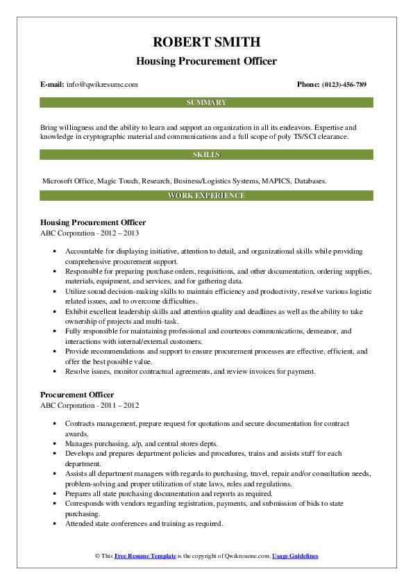 Housing Procurement Officer Resume Example