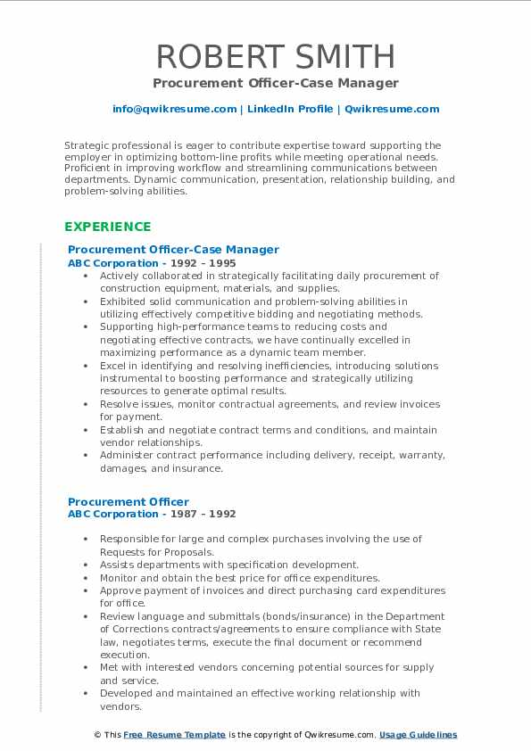 Procurement Officer-Case Manager Resume Model