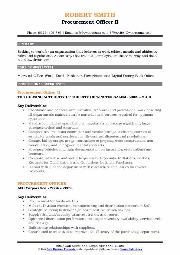 Procurement Officer II Resume Template