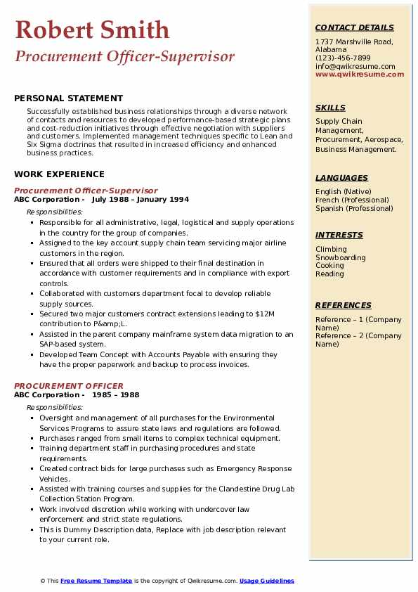 Procurement Officer-Supervisor Resume Sample
