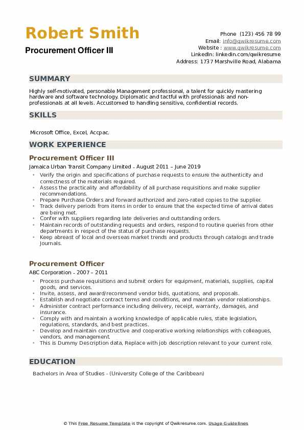Procurement Officer III Resume Model