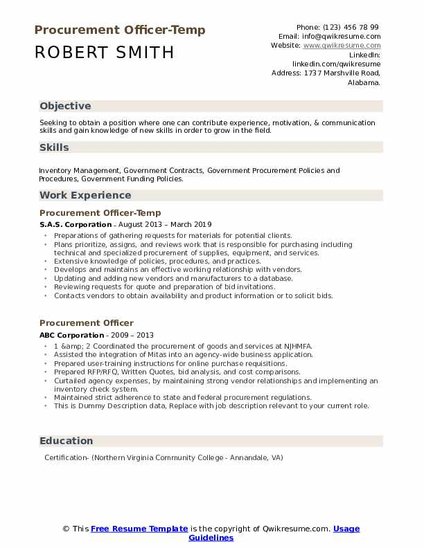 Procurement Officer-Temp Resume Example