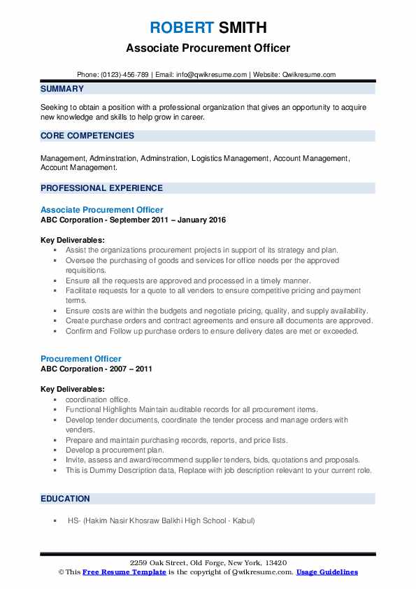 Associate Procurement Officer Resume Template